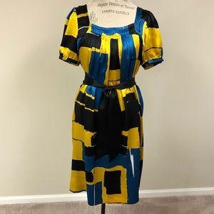 Gorgeous geometric printed silk dress